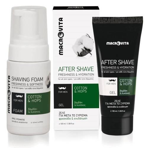 MACROVITA GIFT SET FOR MEN: natural shaving foam 125ml + natural after shave gel 100ml