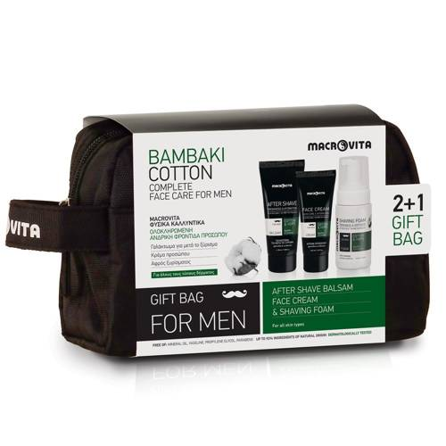 MACROVITA GESCHENK-SET FÜR MÄNNER: After Shave-Balsam 100ml + Gesichtscreme für Männer 50ml + FREI Rasierschaum 125ml + Kosmetiktasche