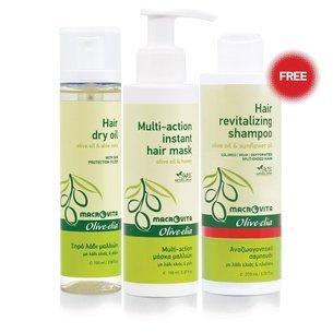 ZESTAW MACROVITA OLIVE-ELIA: suchy olejek do włosów 100ml + błyskawiczna maska do włosów 150ml + GRATIS szampon regenerujący 200ml